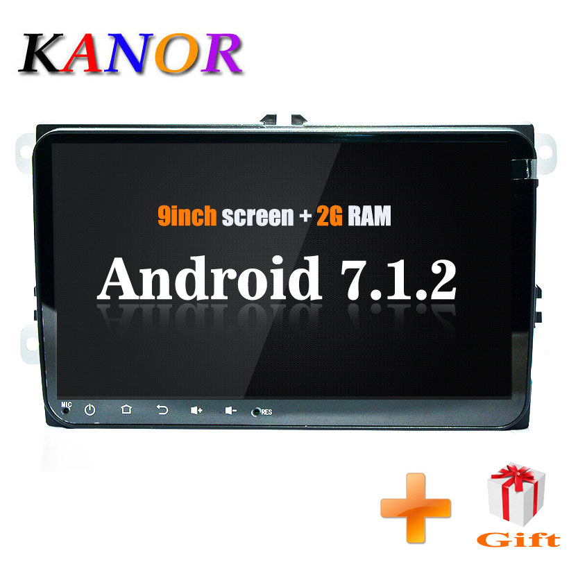 Autoradio KANOR IPS 9 pouces 2 + 16G android 7.1 2din pour vw passat golf 5 6 jetta polo tiguan caddy octavia rapid fabia 2din android