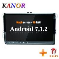 KANOR ips 9 дюймов 2 + 16 г android 7,1 2din Автомагнитола для VW Passat Golf 5 6 jetta Polo Tiguan caddy Octavia Rapid fabia 2din android