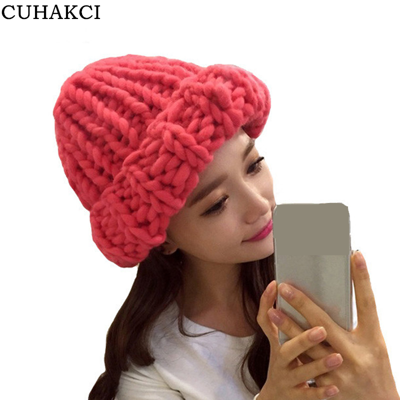 Women Winter Warm Hat Handmade Knitted Coarse Lines Cable Hats Knit Cap Candy Color Beanie Crochet Caps Woman Accessories M056 bingyuanhaoxuan2017 warm patchwork hats casual female autumn winter hats handmade coarse knitted hat for women beanies candy cap