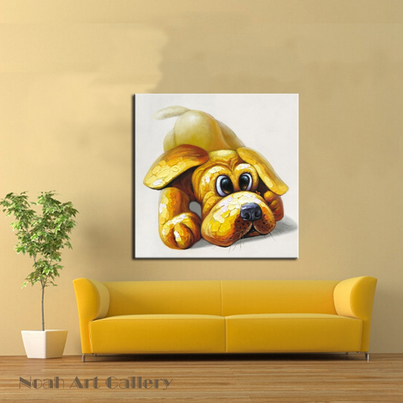 Cut Yellow Dog Oil Painting Heavy Texture Animal Canvas Paintings ...