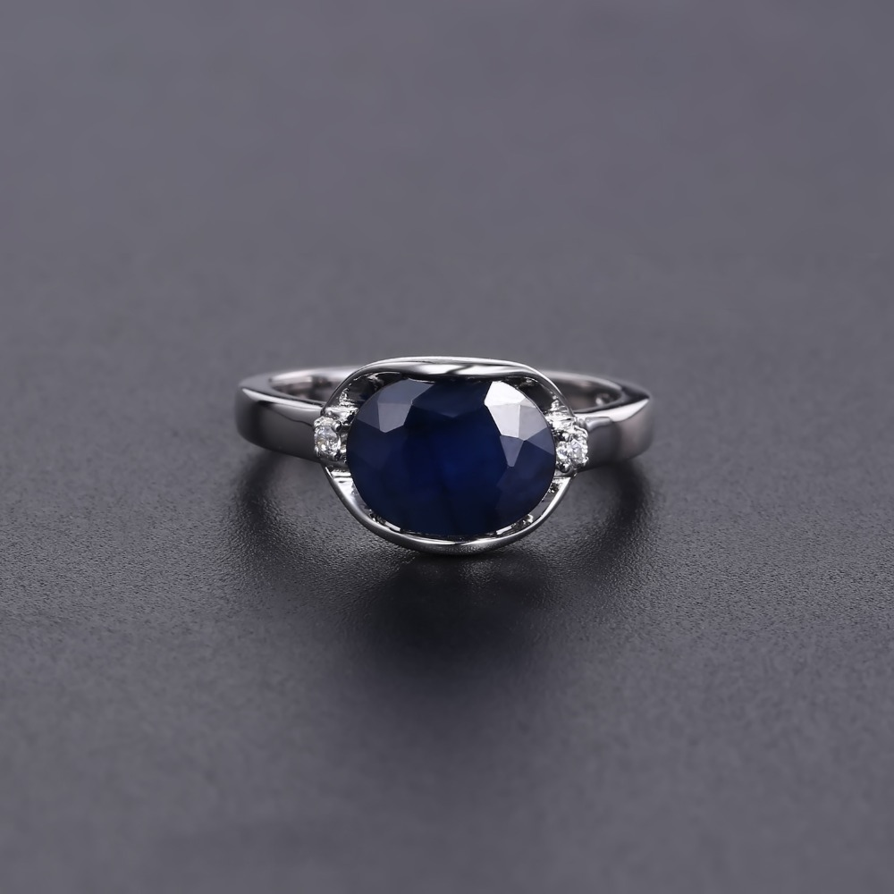 Image 2 - GEMS BALLET New 3.24Ct Natural Blue Sapphire Rings Real 925  Sterling Silver Classic Oval Ring For Women Anniversary Fine GiftRings