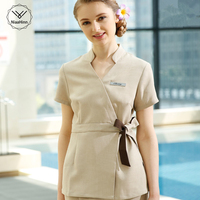 SPA Workwear Overalls Spring/Summer Beige Massage Work Uniform Sets Female Hospital Nurse Uniforms Wholesales Beauty Clothing