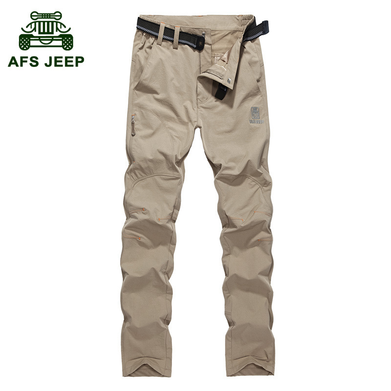 AFS JEEP Hiking Pants Men Stretch Multi Pockets Think Warm Fleece Quick Dry Waterproof Men Pants Fishing Camping Tactical Pants