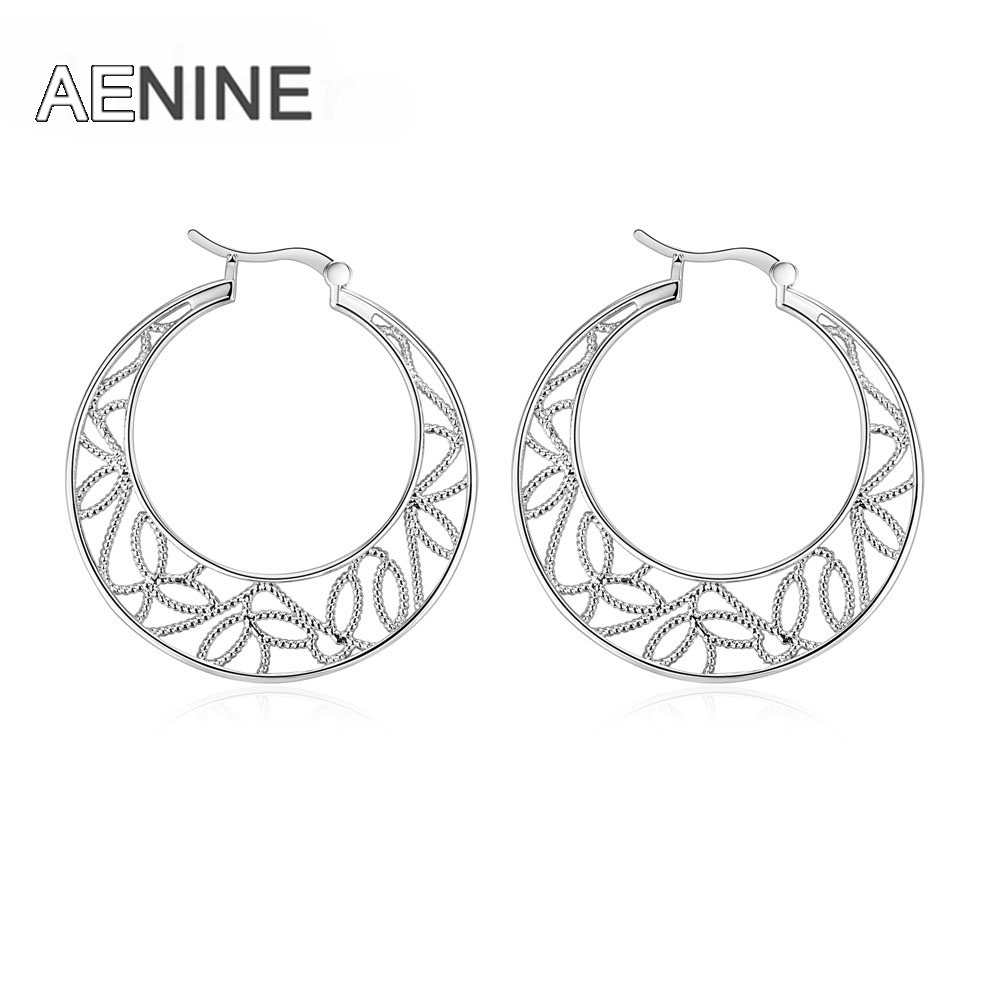 Aenine New Design Fashion Hoop Earring Jewelry Stylish Design Round Shape  Hollow Delicate Earrings For Women