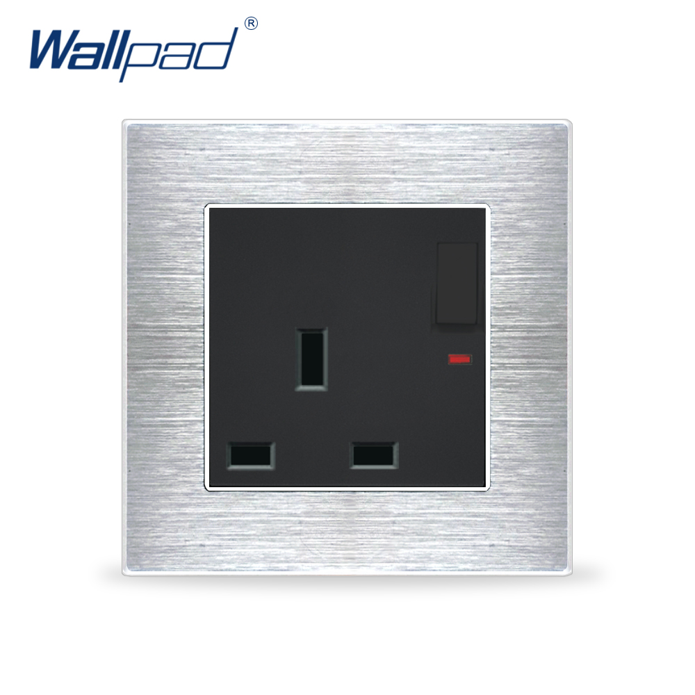 1 Gang 3 Pin UK 13A Socket Outlet With LED Indicator Wallpad Luxury Wall Light Switch Satin Metal Panel Wall Power Outlet uk standard 1 gang socket with 2 usb chargering 3 pin white glass panel wall socket and 2100ma usb wall plug outlet