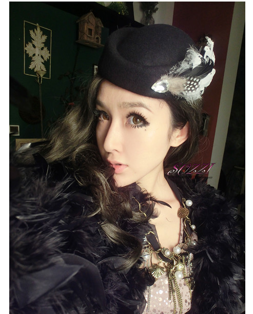 Free shipping Australia pure wool hat feather hat hairpin diamond Europe British black hat small fragrant wind