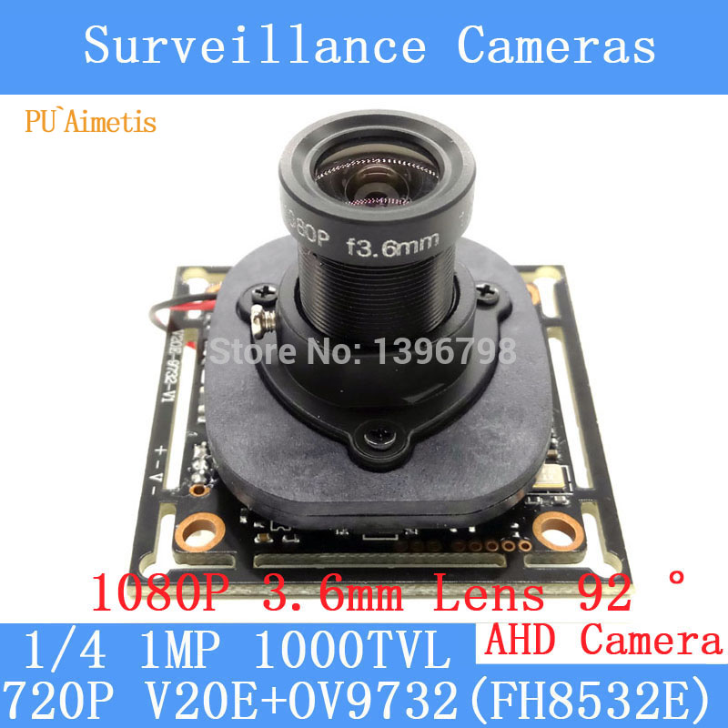 PU`Aimetis 720P AHD 4in1 1000TVL V20E+OV9732 CCTV Camera Module 3.6mm Lens Video surveillance cameras IR-CUT dual-filter switch pu aimetis 4in1 1000tvl ahd cctv camera module 3mp 3 6mm lens pal or ntsc optional surveillance camera ir cut dual filter switch