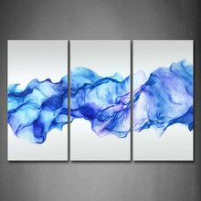 3 Panels Wall Painting Blue Smoked Abstract Canvas Modern Home Room Decor Art HD Large Print Picture Poster