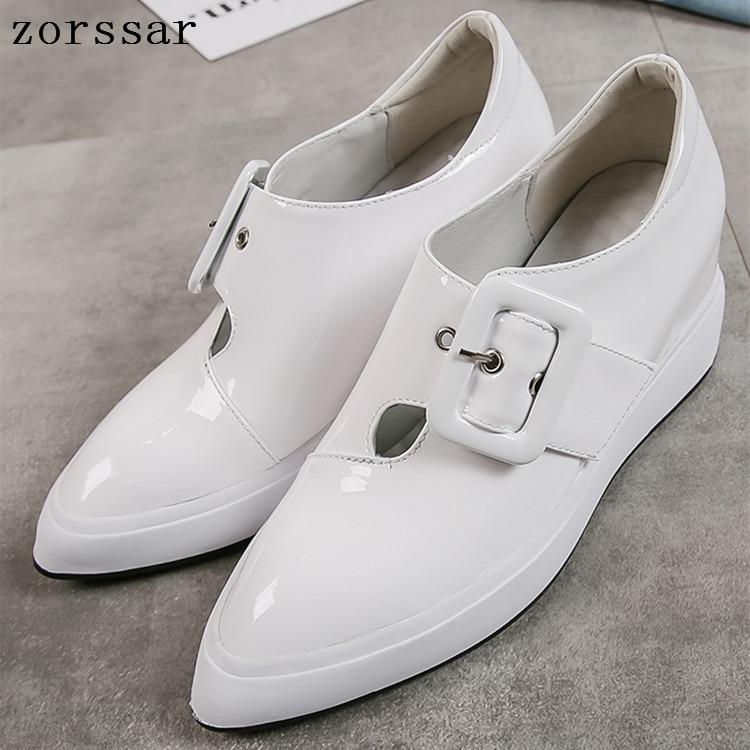 Chaussures à plate-forme plate en cuir véritable sans lacet décontracté femmes mocassins chaussures pour dames chaussures à bout pointu plat femmes