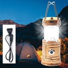 LED Portable Camping Lantern Solar Powered Flashlights Rechargeable Hand Lamp for Hiking Outdoor Lighting Emergency