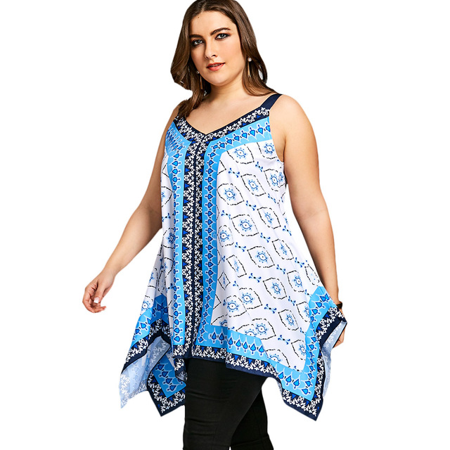 ea92acebeb7 Gamiss Women New Casual Tank Tops Plus Size Tribal Print Handkerchief Tank  Tops Summer V Neck Sleeveless Ladies Top Big Size 5XL