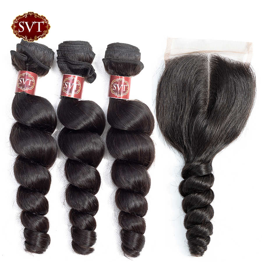SVT Peruvian Loose Wave 3 Bundles With Closure Natural Color 100 Human Hair Weave Non-Remy Human Hair Bundles With Closure