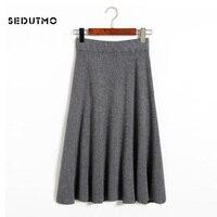 SEDUTMO 2018 Winter Knitted Skirts Women Pleated High Waist Midi Skirt Spring Black Vintage Sexy Tutu Skirt ED062