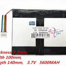 5 нитей планшетный ПК емкость батареи 32100140 3,7 в 5600 мАч Универсальный литий-ионный аккумулятор для планшетных ПК 9 дюймов 10 дюймов 11 дюймов