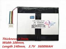 5 нитей, емкость аккумулятора для планшетного ПК 32100140 3,7 в 5600 мАч, универсальный литий-ионный аккумулятор для планшетного ПК 9 дюймов 10 дюймов 11 дюймов