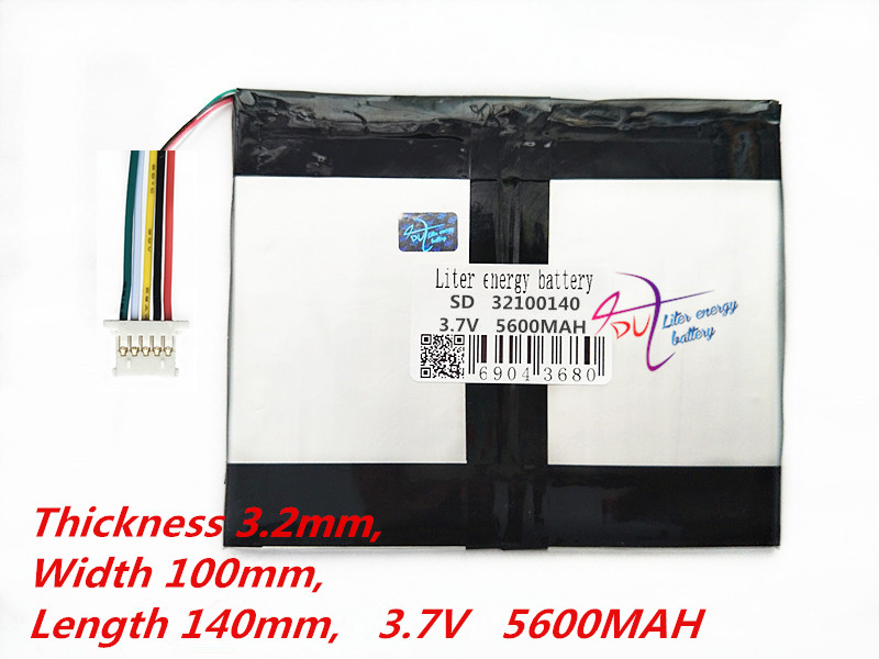 Fio 5 Tablet PC capacidade da bateria 32100140 3.7 V 5600 MAH Universal bateria de Iões de lítio para tablet pc polegada 10 9 polegada 11 polegada