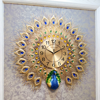 American Wrought Iron Decorative Clock Wall Hanging Crafts Peacock Wall Decoration Pendant Home Livingroom Wall Mural Ornaments