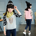 2016 winter hot fashion children's fashion wild sweater girl cartoon dot Owl velvet bottoming shirt