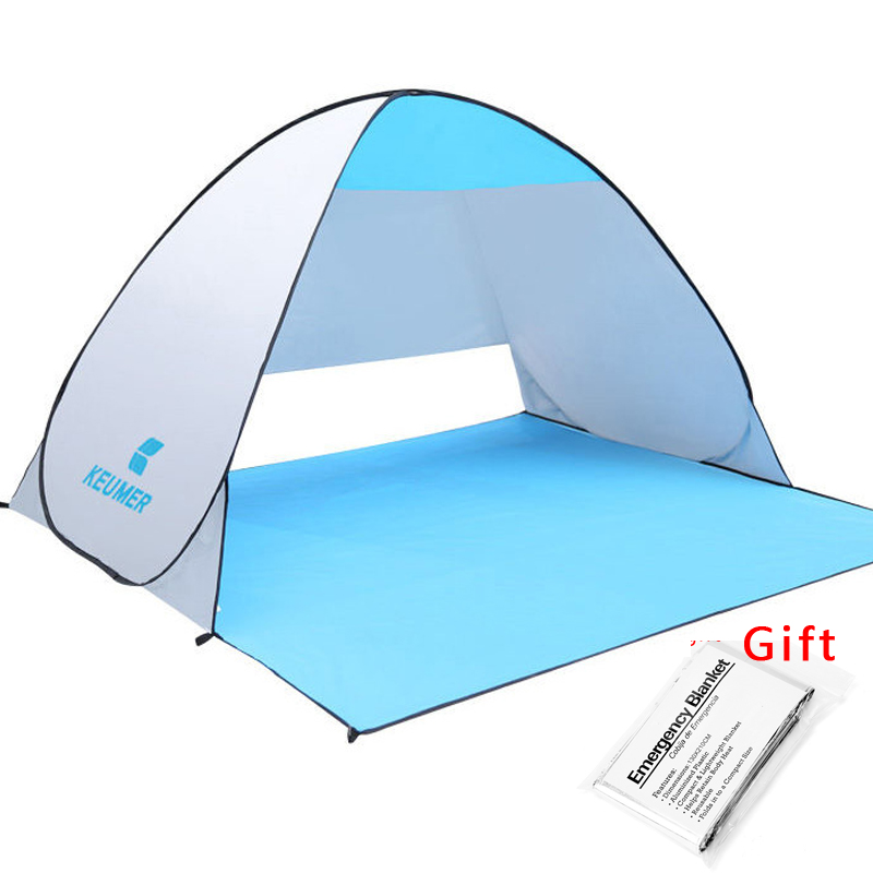 KEUMER Beach Tent Pop Up Open Camping Tent Fishing Hiking Outdoor Automatic Instant Portable (120+60)*150*100cm Anti UV Shelter