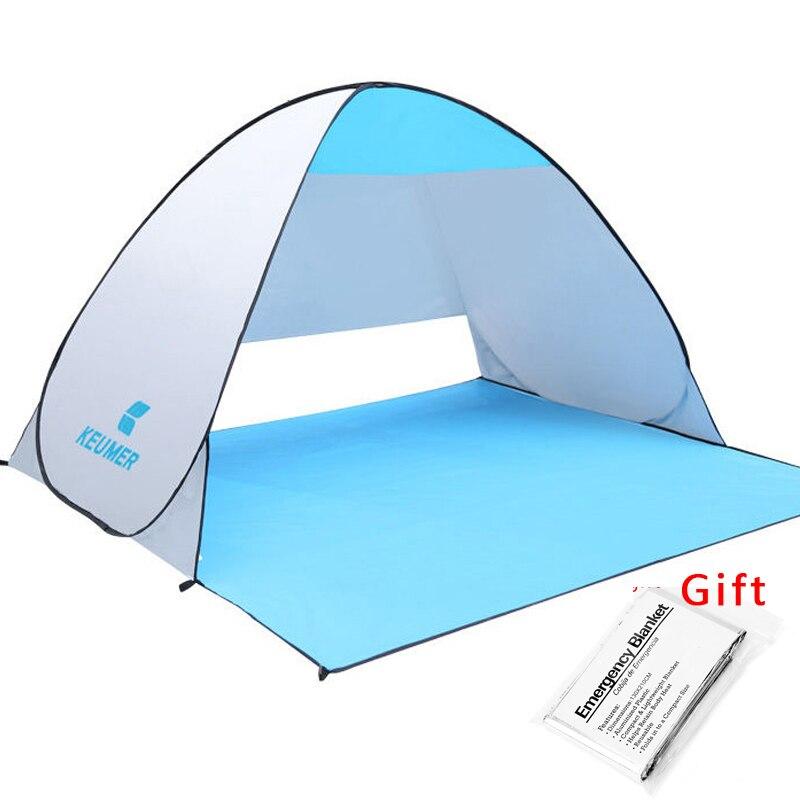 KEUMER Strand Zelt Pop Up Öffnen Camping Zelt Angeln Wandern Außen Automatische Instant Tragbare (120 + 60) * 150*100 cm Anti UV Shelter