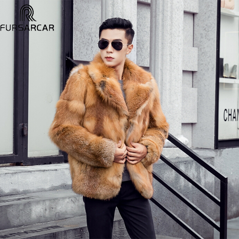 Luxury Men's 70cm long Real Red Fox Fur 2018 Fashion Winter Turndown Collar Natural Fox Fur Coat Full Pelt Thick Men jacket