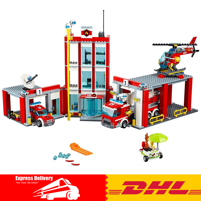 New Lepin 02052 1029Pcs City Series The Fire Station Set 60110 Building Blocks Bricks Educational DIY Toys As Christmas Gift the new jjrc1001 lepin city construction series building blocks diy christmas gift for kid legoe city winter christmas hut toy
