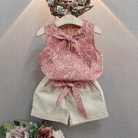 Puseky 2017 New Fashion Cute Baby Girls Clothes Set Summer Floret Bowknot Sleeveless T-shirt + Pant Linen 2PCS Girls Outfit Set