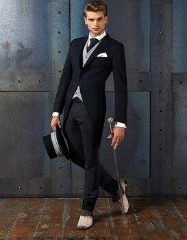 Bespoke Made Suits Slim Fit Black Peaked Lapel Men Morning Tailcoat Groomsmen Suits Wedding Suits For Men (jacket+pants+vest)