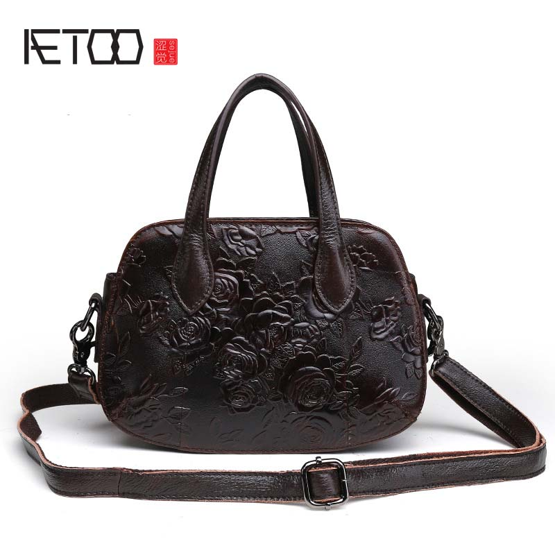AETOO brand New leather embossed floral genuine leather handbag oil wax retro elegant cowhide Leather Shoulder