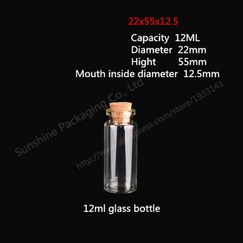 Free Shipping 200pcs/lot 12ml Clear Glass Bottle with Wood Cork, 12cc Crimp Neck, Storage,Decorative, Craft,Wishing Bottle