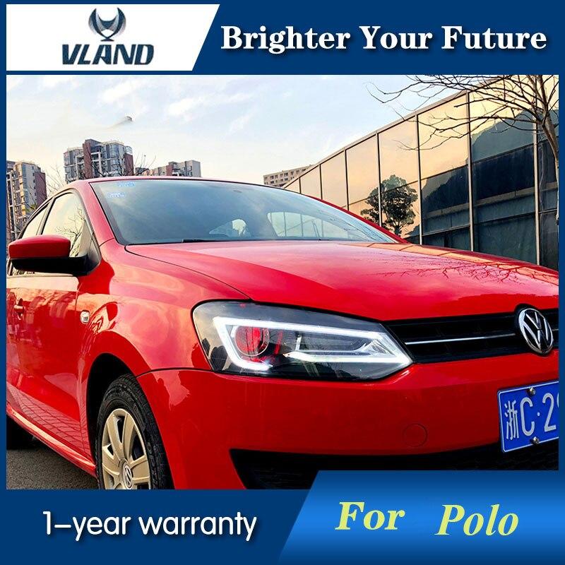 2PCS LED headlights for VW Polo 2011 2018 DRL Projector Demon Eyes Audi Look Headlight H7 HID Xenon bi xenon lens