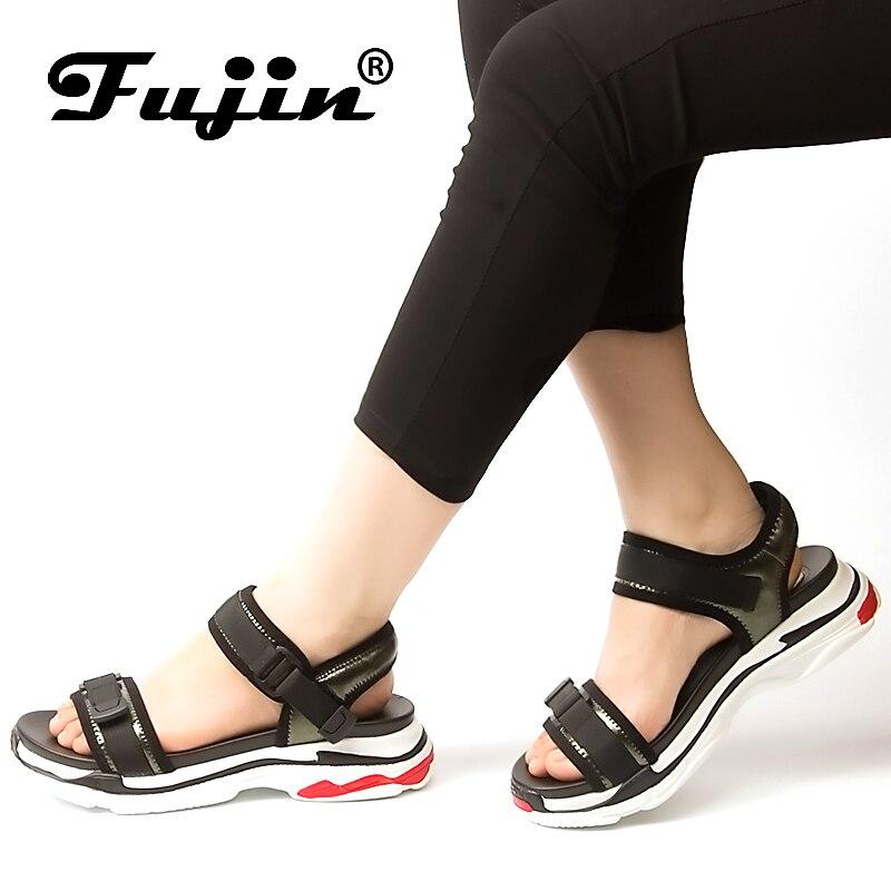 Fujin 2018 Nouveau D'été De Mode Haute Plate-Forme Sandales Chaussures Dames cales sandales dames à bout ouvert bout rond Femmes Occasionnels Chaussures