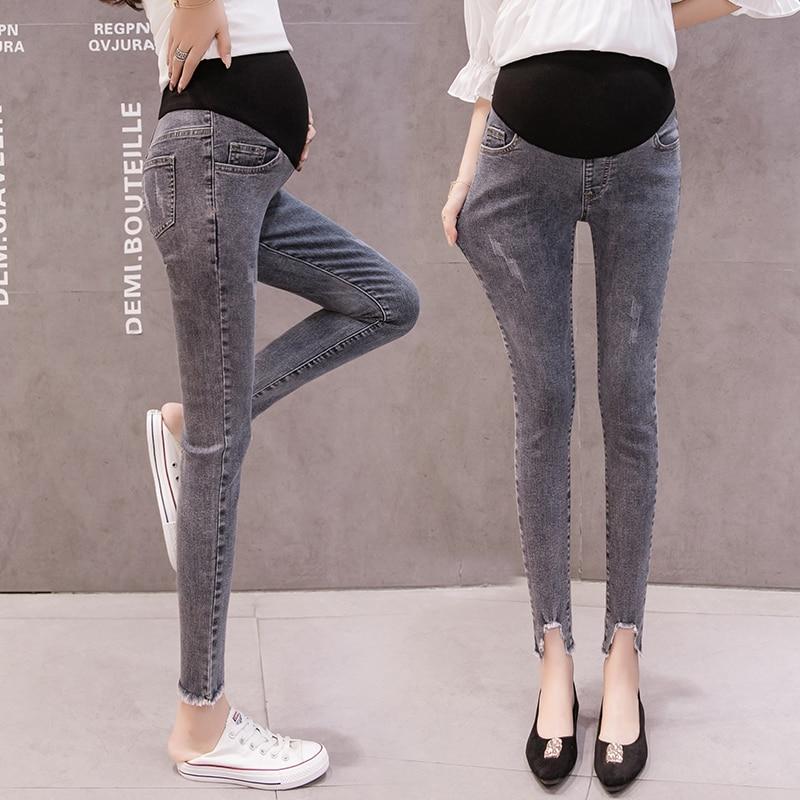 Irregular Tassel Leg Hem Pregnant Women Belly Jeans Maternity Skinny Denim Pants Office Lady Elegant Fashion Cotton Trousers(China)