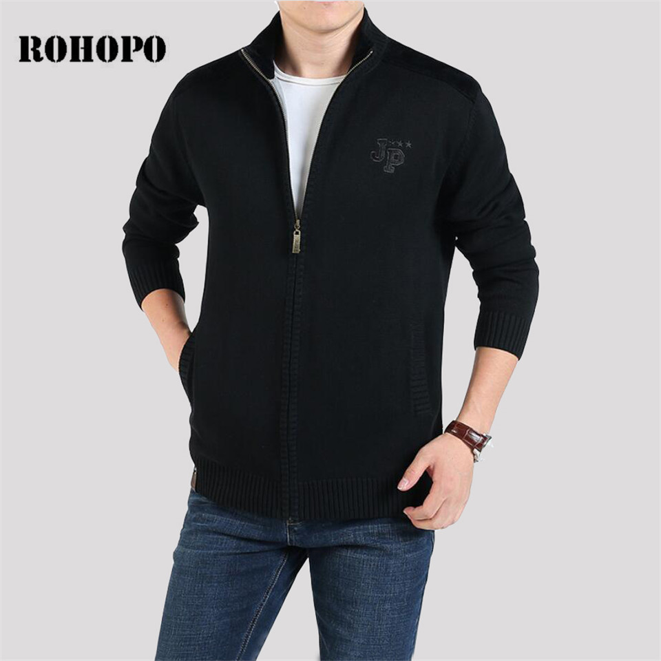 ROHOPO Military Style Fleece Liner Warm Winter Cardigan Casual Thicken Sweater Men,Top Quality Army Cotton Made Knitted  Outwear
