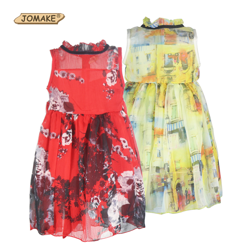 Cartoon Pattern Floral New Girl Dress Summer 2016 Kids Princess Dresses For Girls Clothes Toddler Girl Clothing Children Costume free shipping 2016 summer kids girl dress princess dresses cartoon the black cat costume children toddler clothes top sale