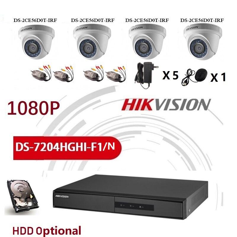Hikvision inglês versão DS-7204HGHI-F1/n 1080 p e DS-2CE56D0T-IRF jogos 4ch com hdd opcional