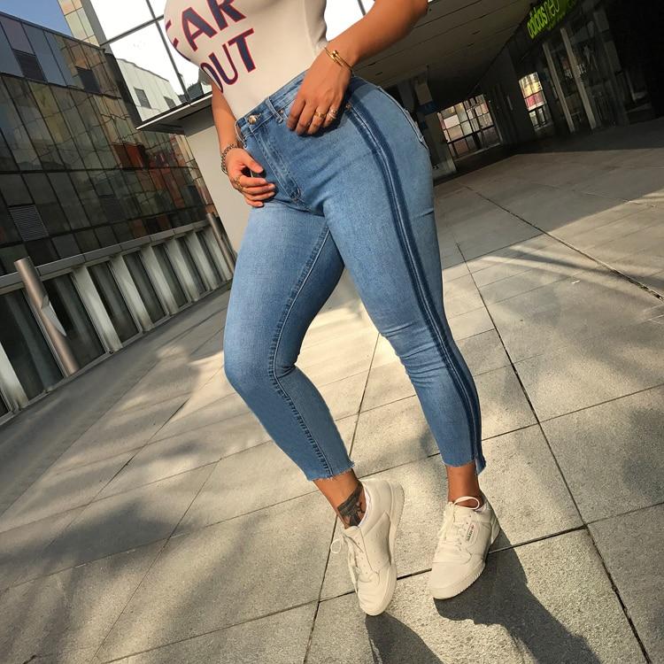 Good Quality Spring New Women Jeans Casual Side Strip High Waist Pants Irregular Cuff Cut Slim Jeans Demin Pants Trousers kobeinc white jeans for women summer 2017 new casual fashion high waist printing slim fit cropped jeans trousers jeans femme