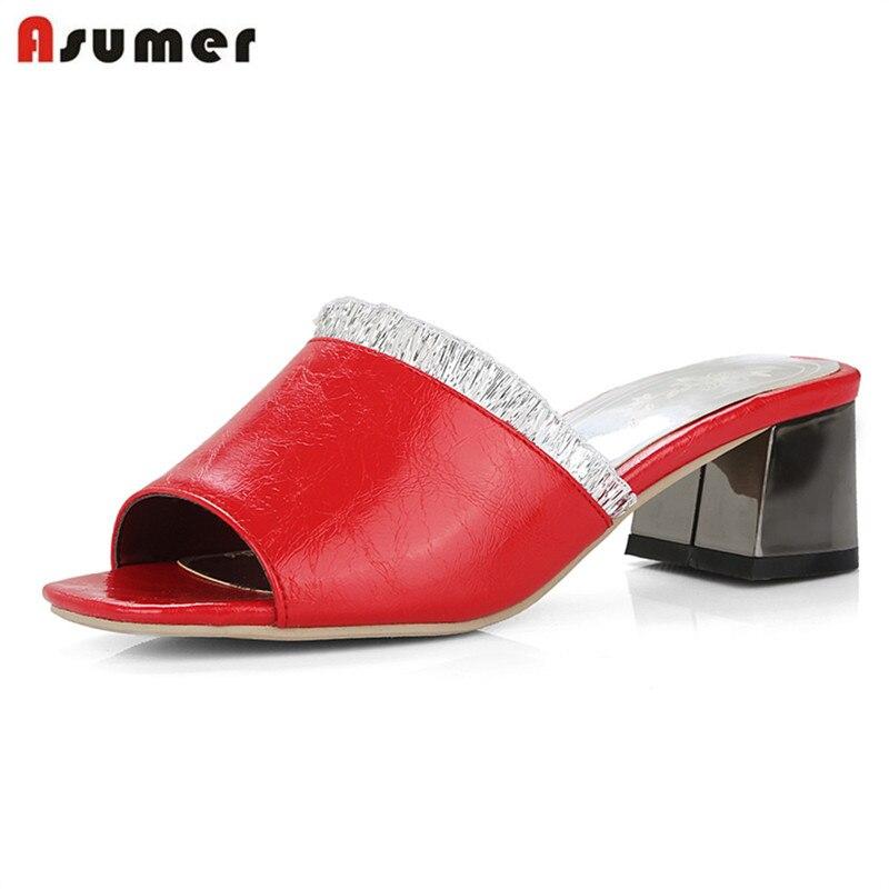 dimensione arriva moda elegante estate 4 cm calda grande nuovo tacchi scarpe 2018 bianco 45 rosso Asumer Qop moda med nero sandali 5 vendita 31 donne colore pistola EvH6Wq