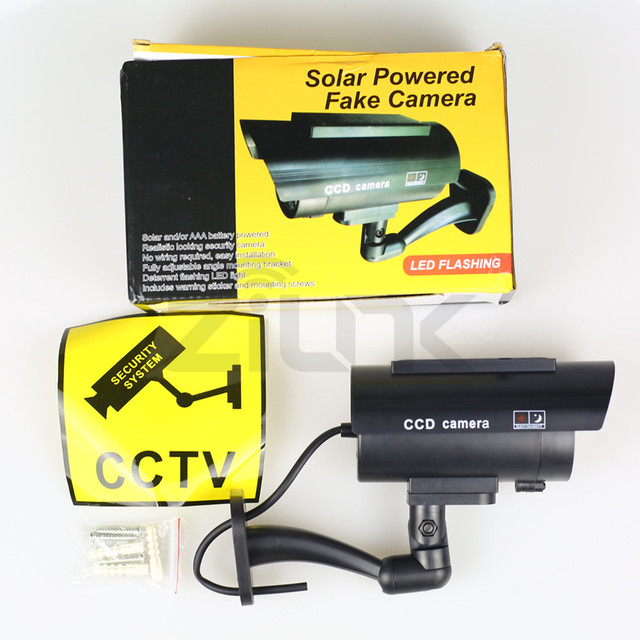 Fake Camera Solar Power Outdoor Simulation Dummy Camera Waterproof Security CCTV Surveillance Bullet With Flashing LED Light
