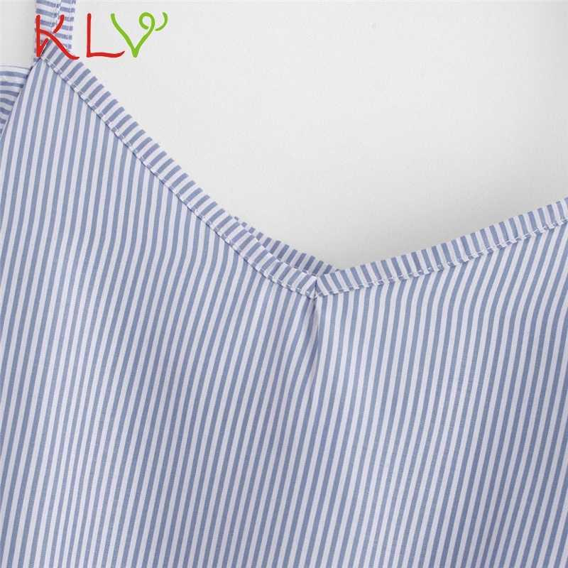 KLV נשים צמרות חולצה סקסית כבוי כתף שרוול קצר פסים יבול חולצות סיבתי חולצות חולצה blusas mujer דה moda 2018