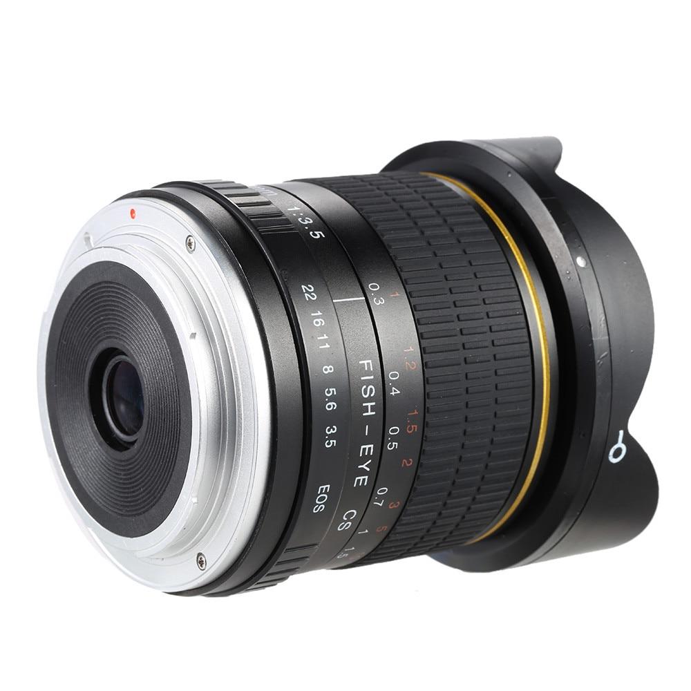 8mm F/3.5 Ultra Grand Angle Objectif Fisheye pour Canon DSLR Caméras 1500D 1200D 800D 760D 750D 700D 750D 600D 80D 70D 60D 77D 7D - 3
