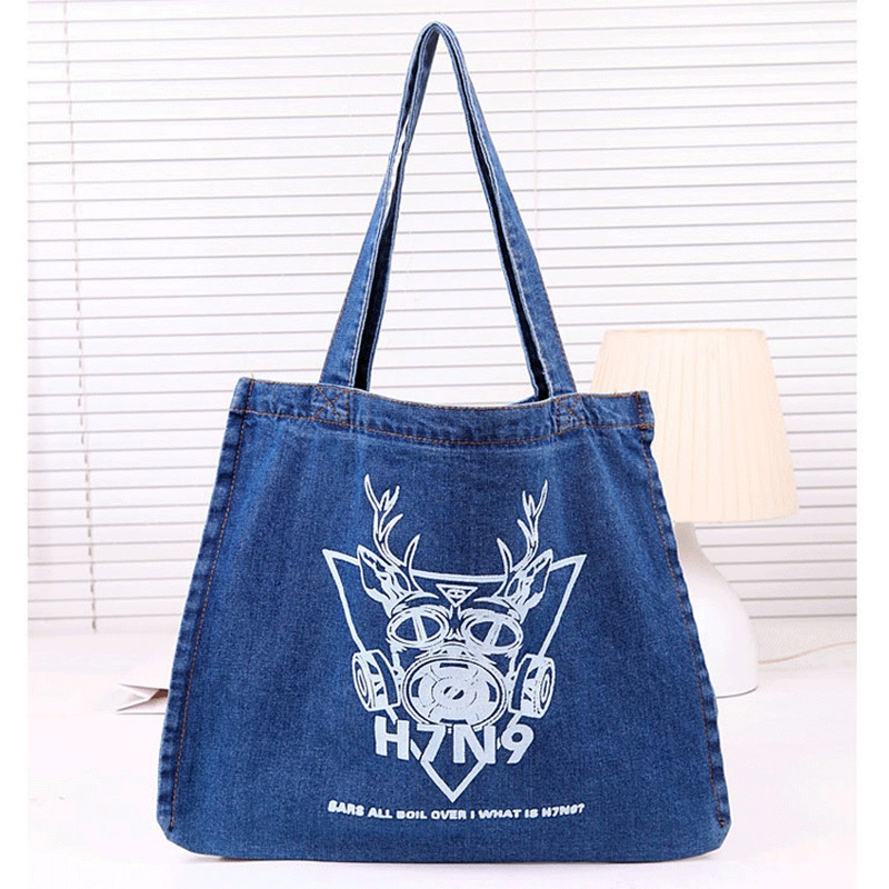 c8347de558971 Kore kadın büyük Denim çanta katı tuval rahat çanta omuz çantaları bayanlar  Jean çanta kovboy plaj çantası Tote Shopper kesesi bir ana