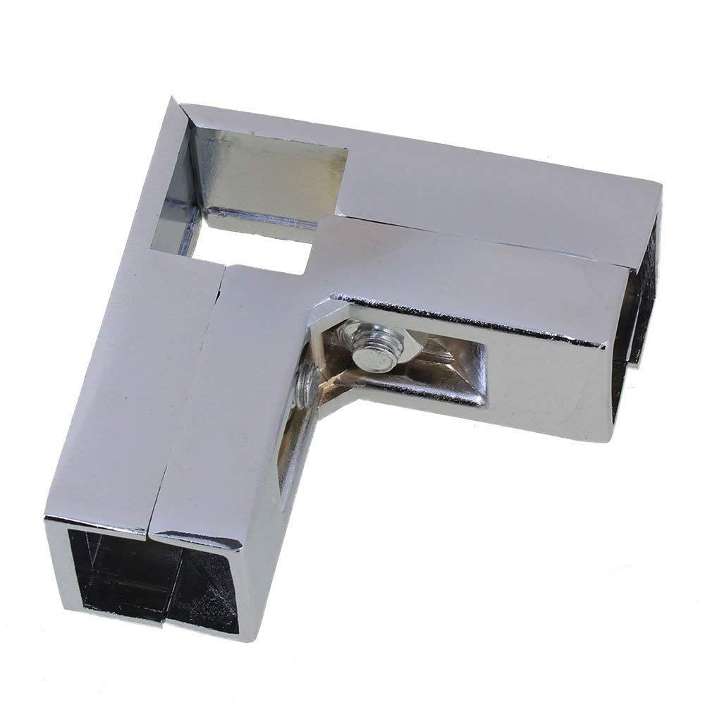 US $6 56 12% OFF|Alluminum Silver 3 way L Shape Chrome Plated Connector  Square Tube Clamp for 25mm Pipe Dress Hanging Wardrobe Rail-in Pipe  Fittings