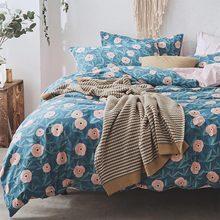 Vintage flor ropa de cama conjunto Chica adolescente gemelo completo reina rey algodón simple doble textiles para el hogar de la hoja de cama funda de almohada cubierta de edredón