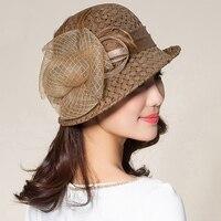 Lady Fedoras Straw Hat Girls Flowers Fisherman's Hats British Style Sunshade Cap Casual Sun Protection Fedoras Cap B 8712