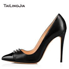 цена Pointed Toe High Heel Black Pumps Women Studded Heeled Evening Dress Shoes Ladies Summer Stiletto Party Heels Large Size 2018 онлайн в 2017 году
