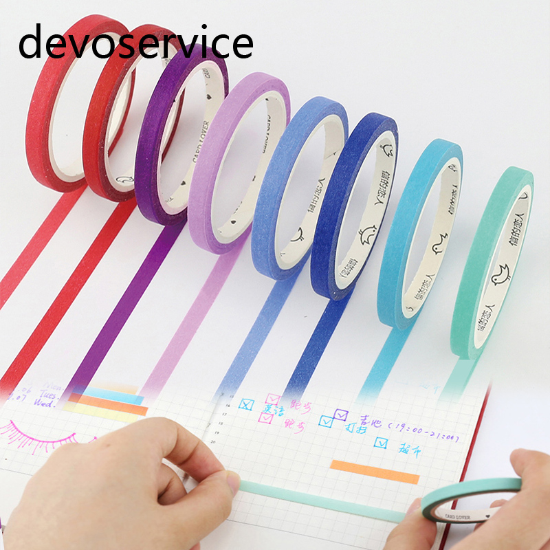 8Pcs/lot 5mm*7m Solid Color Slim Paper Tape Macaron Candy Color Decorative Masking Tapes School Supplies Free shipping цена и фото