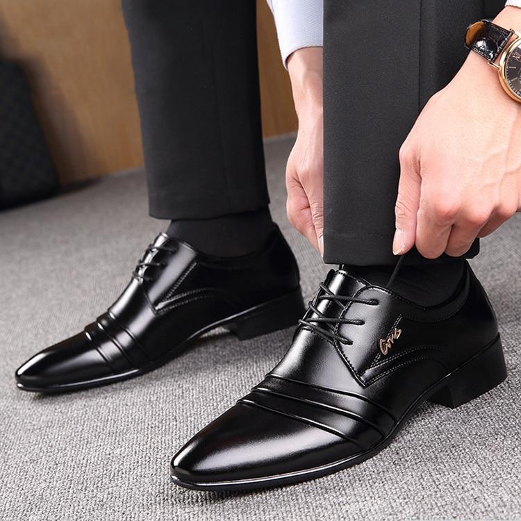 Pointu Noir Chaussures Respirant Bande Mâle D'affaires Cuir Automne Pu Up On slip Hommes Robe Black De Black Lace En Coréen Printemps qF1v8XF