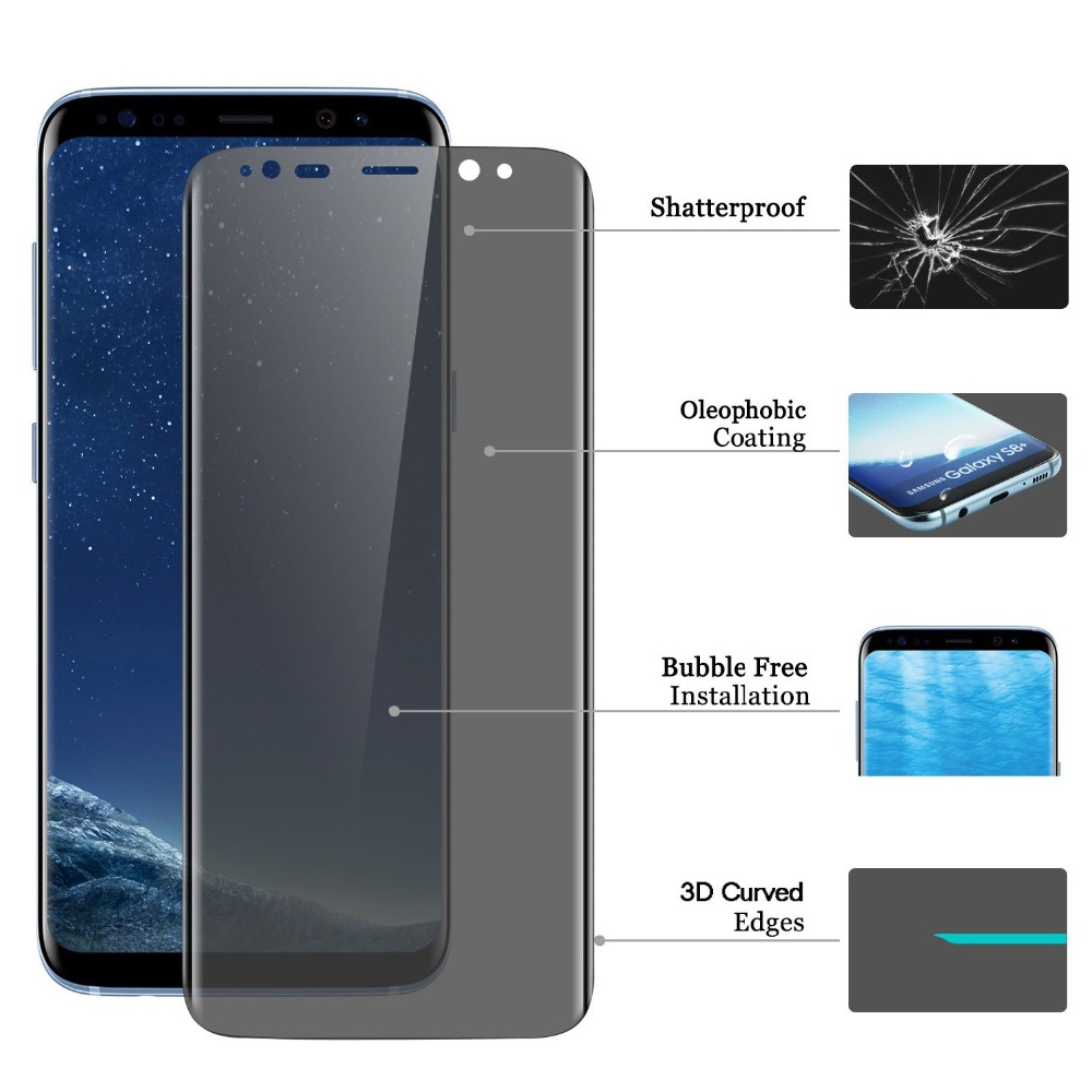 3D Full Coverage Privacy Anti Glare Glass For SAMSUNG Galaxy note8 note9 S8 S9 PLUS S8 PLUS Anti Spy glass Screen Protector in Phone Screen Protectors from Cellphones Telecommunications