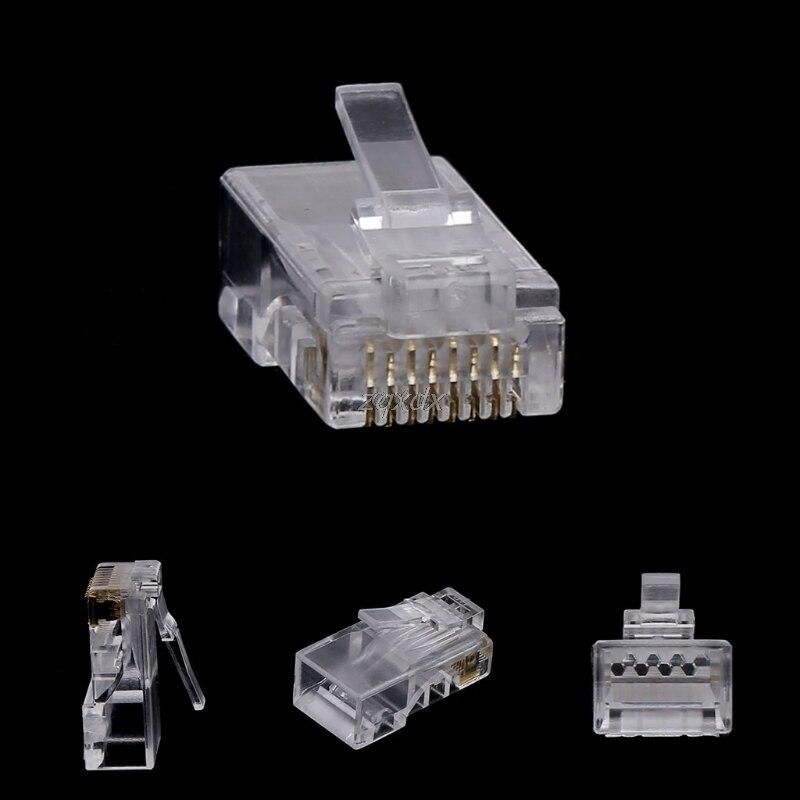 10Pcs RJ45 8-Pin Connector CAT6 Network Cable Modular Ethernet Crystal Plugs  Drop Ship